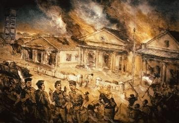 Pembumihanguskan bangunan dan sarana vital di kota Pameksan