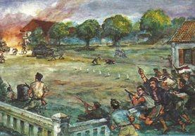 Salah satu sisi pertempuran di alun-alun Sadangdang dalam rangkaian Serangan Umum