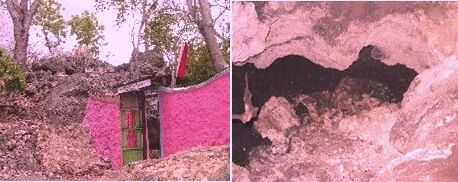 Pintu masuk (kiri) dan ruang dalam (kanan) Goa Kandalia